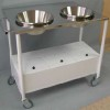 Enameled steel plaster trolley, top plane and stainless steel trays