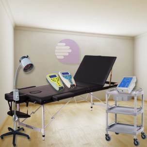 Essence Physiotherapy cabinet New Age: Contains stretcher, magnet therapy, electrotherapy, ultrasound, laser, lamp and cart