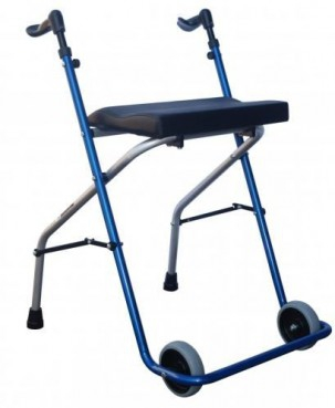 Aluminum Folding Walker with wheels and front seat A5 and blue gift bag
