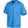Unisex sanitary jacket with peak neck in sky blue color