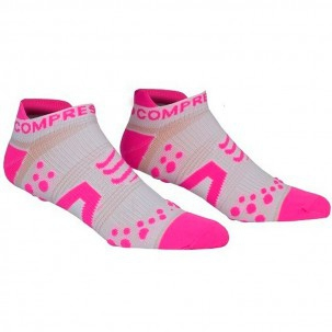 Compressport Pro Racing Socks V2 Run Low Cut (White/Pink) - End of Season Offer