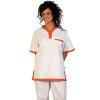 Unisex Trousers with elasticated waist (white and orange)
