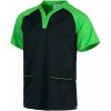 Scrub tunic with short, raglan sleeves (black and pistachio green)