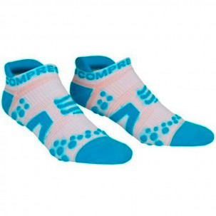 Final Season Offer - Compressport Pro Racing Socks V2 Run Low Cut - Ultra Low Technical Socks - Color White-Blue